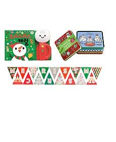 크리스마스 캐럴 사운드북 + 크리스마스 카드와 틴박스 + 행복한 크리스마스 가랜드
