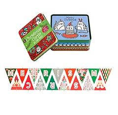 크리스마스 카드와 틴박스 + 행복한 크리스마스 가랜드