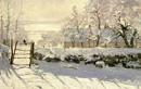 눈 쌓인 시골마을의 아름다운 풍경